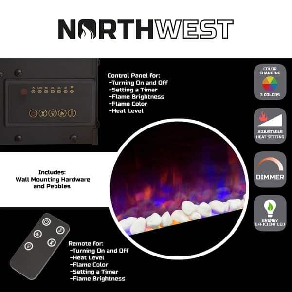 Northwest Wall Mounted 54 Inch Electric Fireplace With Remote 54
