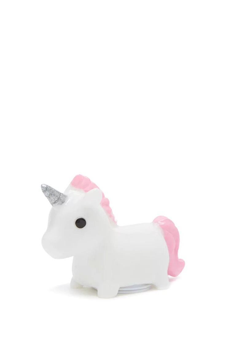 A vanilla scented lip gloss featuring a unicorn design and a flip top lip gloss container at the bottom.