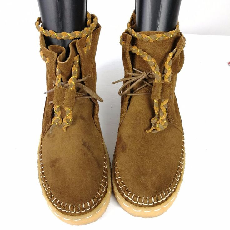 Laidback London Moccassin Brown  Leather Suede Booties USA 7.5 Handmade Wool #LaidbackLondon #Moccasins