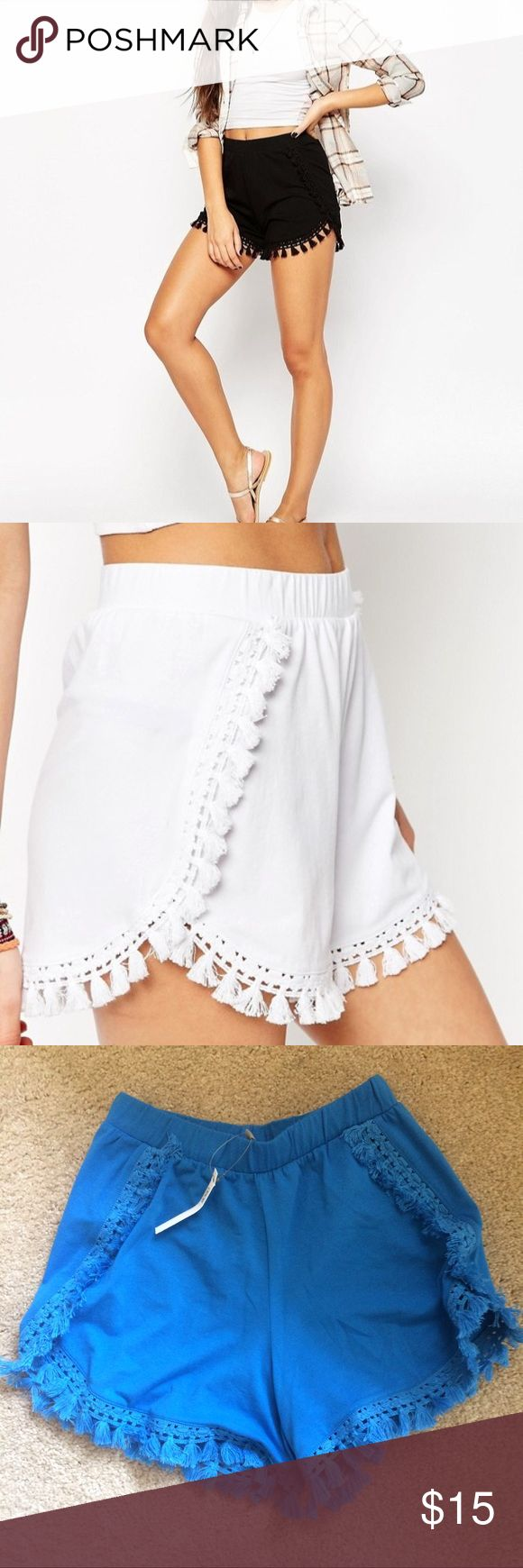 ASOS jersey short with tassel hem **Not included in closet sale** Super cute and comfy! These sit at a mid to high rise and have a tulip hem at the outside of either leg. Tassel hem along the sides and bottom. Elastic banded waist. 96% cotton, 4% elastane. UK 10/US 6/EU 38 ASOS Shorts