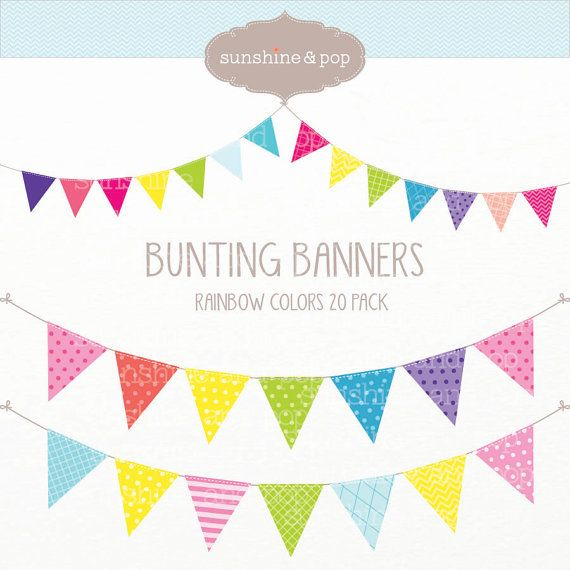 INSTANT DOWNLOAD - 20 Rainbow Bunting Banners  Digital Clip Art - Polka Dot Stripes - scrapbook, invitations, photography, elements