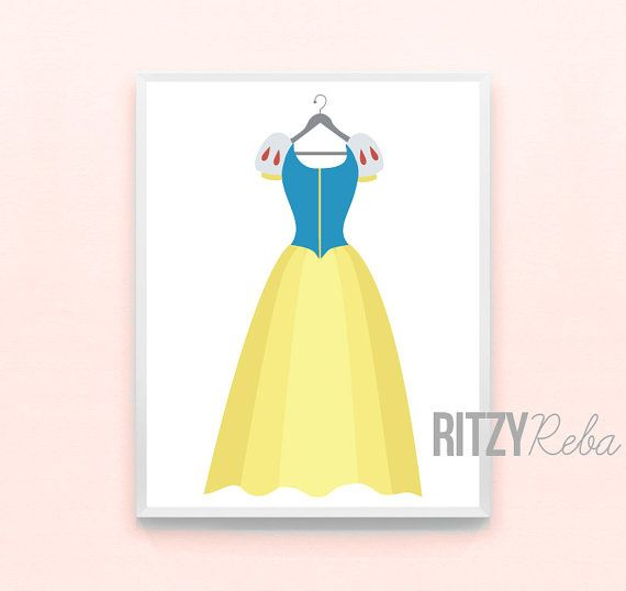 Disney Princess Girl Nursery Art Snow White Princess Dress Print - Minimalist Wall Art, Kids Playroom, Seven Dwarves Childrens, Girls Modern