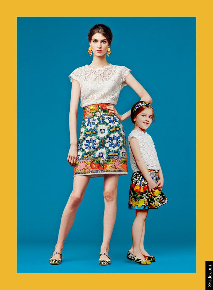 Dolce and Gabbana Fall Winter 2014-15 Mother and Daughter matching dresses ideas: Lace Top and Sicilian Print Skirt