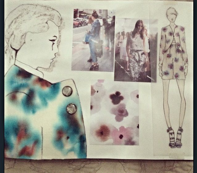 Fashion Sketchbook exploring pretty floral print & pattern; fashion drawings & fashion design process // Sarah Davies