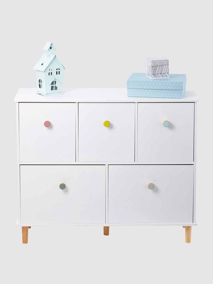 Lignes pures et pointes de couleurs pour cette commode meuble de rangement qui permettra de for Meuble qui a plusieurs tiroirs