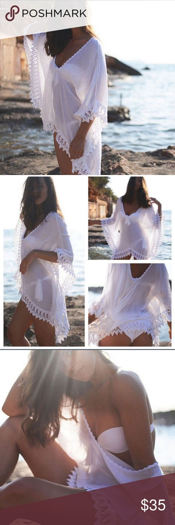 trendy white v neck beach cover up 🌹on the way🌹 This is one size white with lace cute bathing suit cover-up. Exactly as  pictured. 🌹 this is on the way 🌹reserve if interested🌹is new in package Swim Coverups