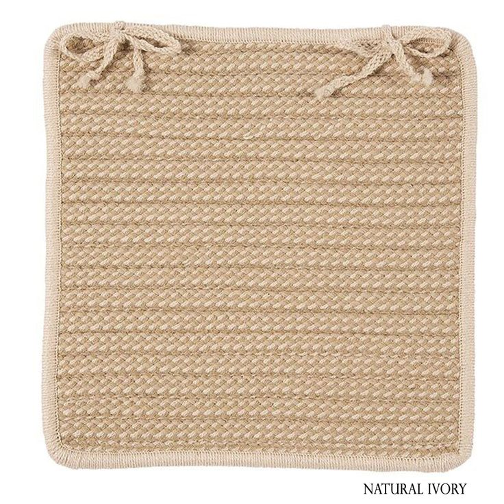 Colonial Mills Textured Accent Indoor/Outdoor Chair Pads Set-4 (Tan/Off-White/Multi) (Synthetic Fiber, Border)
