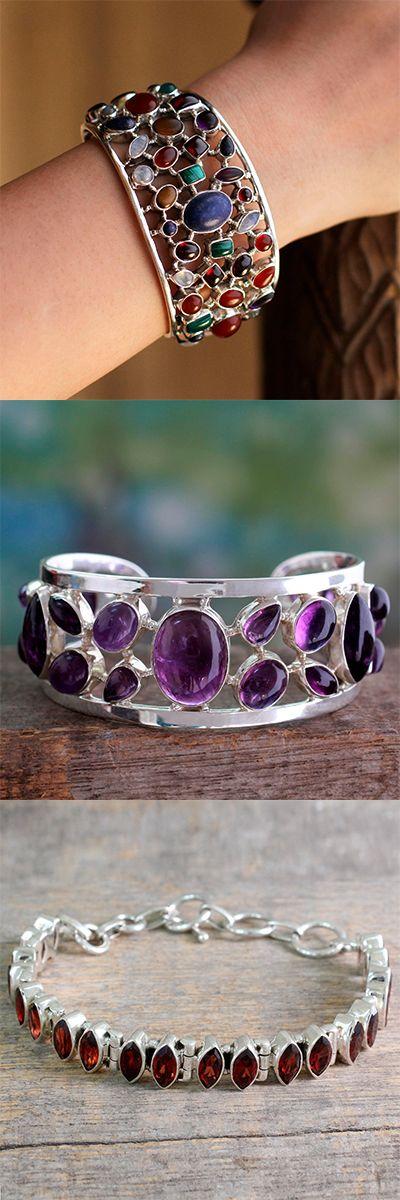 Sterling Silver Cuff Bracelets Multigemstone Jewelry