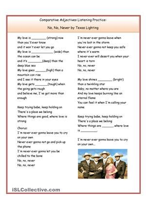 Students listen and fill in the blanks with the correct comparative adjective. - ESL worksheets