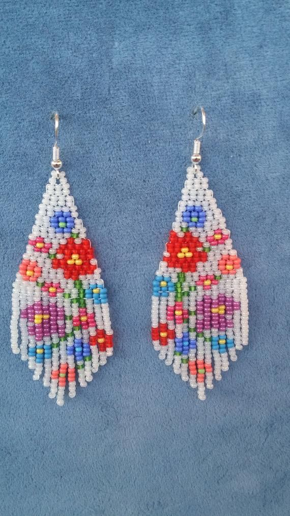 Unique Earrings Abstract Floral Print Beaded Earring White Native