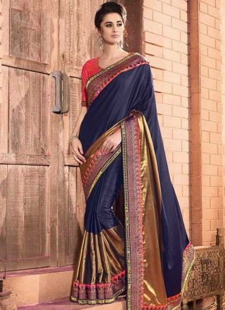 Navy Blue Embroidery Work Silk Georgette Designer Fancy Wedding Sarees http://www.angelnx.com/Sarees/Wedding-Sarees