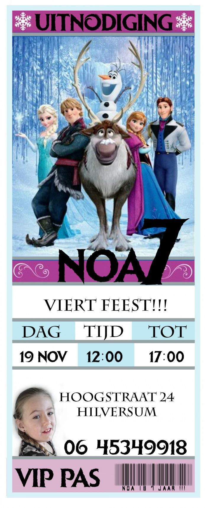 uitnodiging ,frozen, thema feest ,partytje