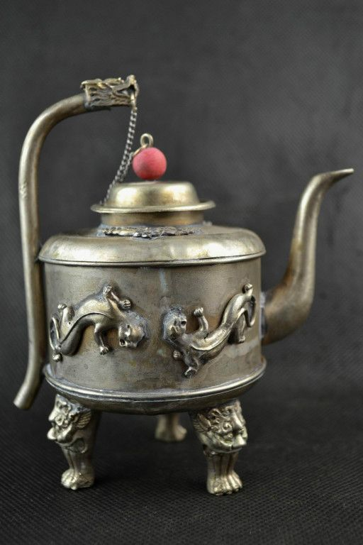 Collectibles Decorated Handwork Old Miao Silver Carving Dragon Leopard Tea Pot | the Teapots Collectionary