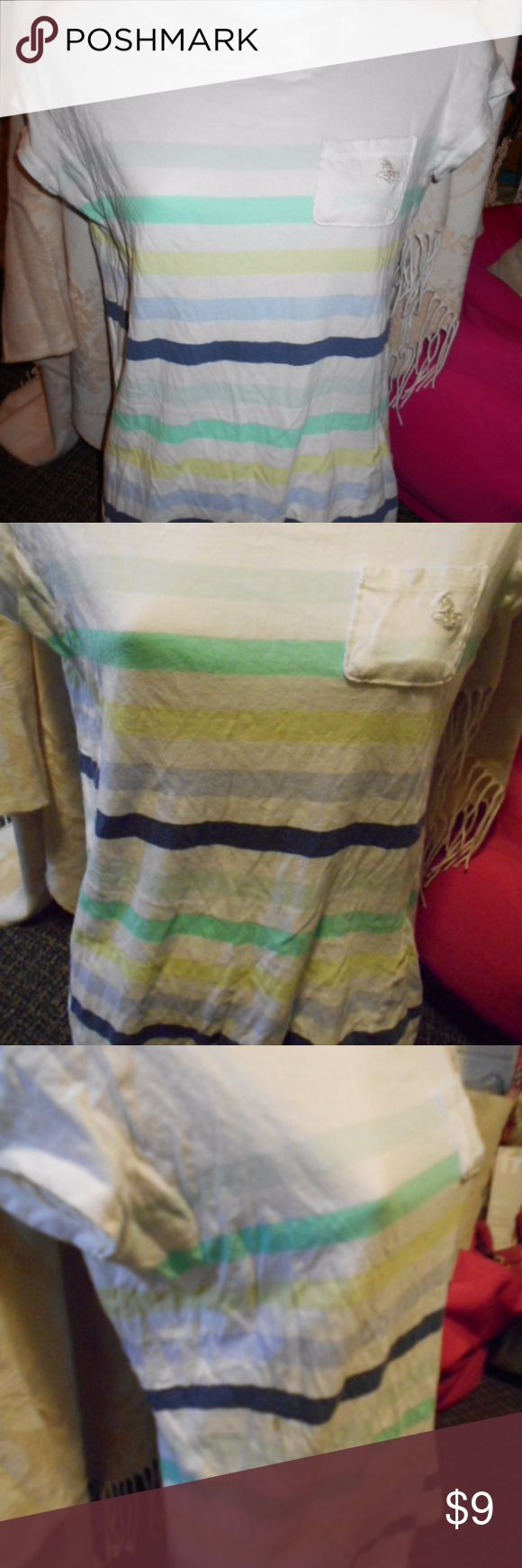 Striped Tshirt with Front Pocket New, Adorable Tshirt with mini front pocket and stripes. Size Small-Medium. Urban Outfitters Tops Tees - Short Sleeve