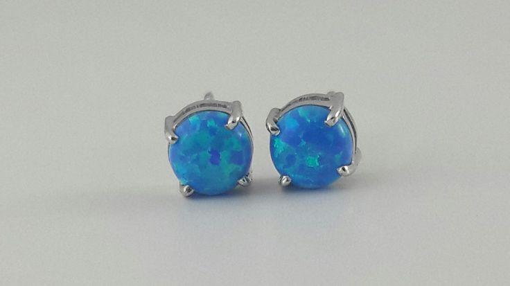 Claw set opal stud earrings .925 sterling silver AAAAA grade cubic zirconia by IsaBellaJewellery on Etsy