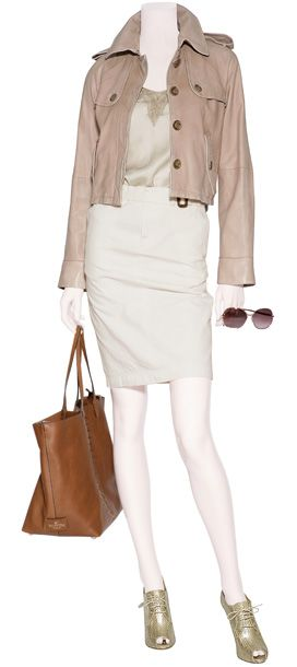 D&G DOLCE & GABBANA $ 1,335    Mineral Nude Cami Top with Mink Lace Trim  DAY BIRGER ET MIKKELSEN $ 190    POLO RALPH LAUREN $ 280    Cognac Studded Tote   VALENTINO $ 1,865    Natural Pearl Ronus Peep-Toe Booties  RALPH LAUREN COLLECTION $1,545