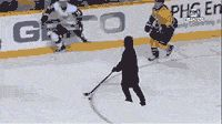 Funny Gifs ~ Shoveling snow guy playing hockey scores