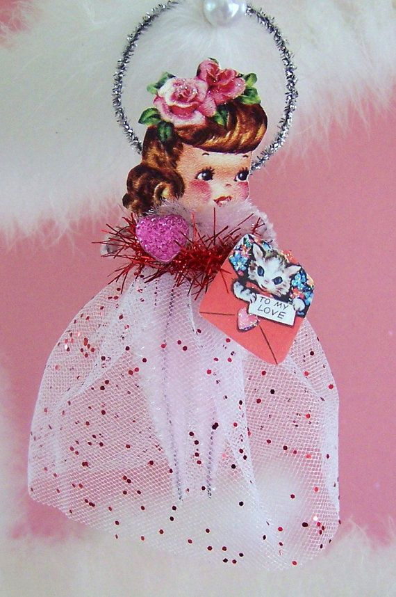 Vintage Girl Valentine Ornament Feather Tree By TreePets