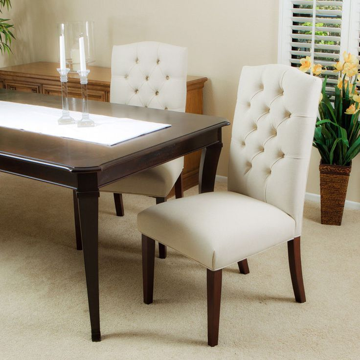 Set of 6 Elegant Design Linen Upholstered Parsons Dining Chairs With Tufted Back #Contemporary