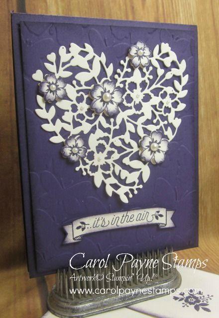 Prachtig hart, gemaakt met de Bloomin' Heart Thinlits Dies van Stampin' Up! en wat parel accenten. #stampinup #bruiloft #kaart