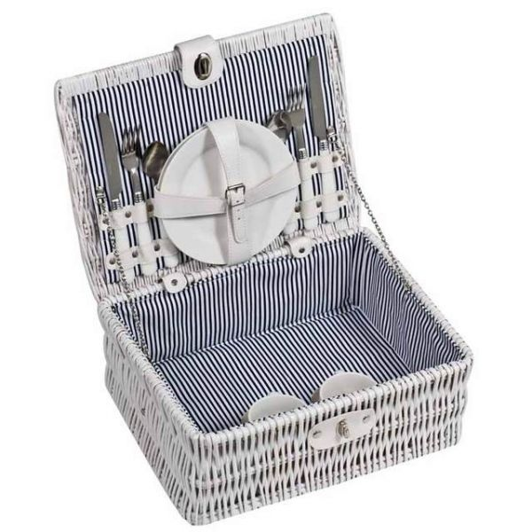 Wicker picnic basket for 2 in white finish. Set includes: 2x plates, cups, forks, knifes and spoons Product size 36 x 24 x 16 Branding size 4 x 1,8