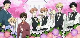 """List of Ouran High School Host Club characters Anime screenshot featuring the Host Club members dressed as caterers. From left to right: """"Mori"""", """"Honey"""", Haruhi, Kaoru and Hikaru, Tamaki and Kyoya."""