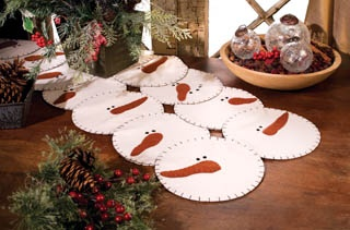 I think it would be cute to make each snow man face a place mat rather than a table runner