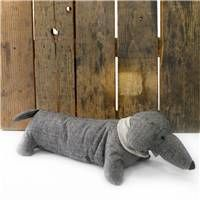 Herringbone Sausage Dog Doorstop ~  Black Fabric Door Stop