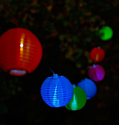 30' Solar String Lights with 10 Round Multi Colar Solar Nylon
