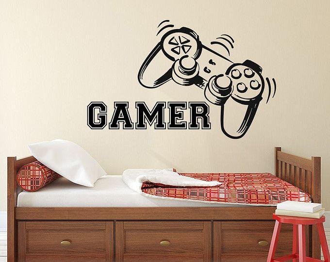 Gamer pared calcomanía controladores de juego juego a vinilo etiqueta etiquetas videojuegos niño habitación decoración dormitorio hombres regalo dormitorio dormitorio Gamer regalos Decor x136