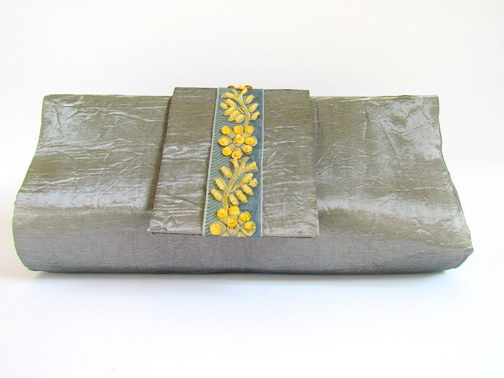 OOAK Silver Grey Elegant Clutch Purse, Silver Clutch, Wedding Clutch, Unique Clutch, Grey Clutch, Prom Clutch Purses, Special Occasion Purse by ICreationsBoutique on Etsy