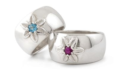 Handmade Argentium Domed Ring With a Single Daisy Set With a Blue Topaz and Amethyst