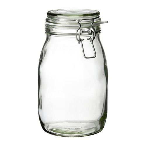"""IKEA - KORKEN, $4.49 Jar with lid, The jar has an airtight seal, which makes it perfect for preserving your favorite homemade jams and jellies.The airtight seal helps food retain its flavor and aroma longer. Diameter: 4 7/8 """" Height: 8 """" Volume: 2 qt"""