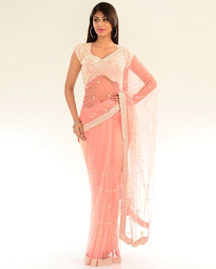Blush Pink Net Sari with Pearl Embellished Blouse