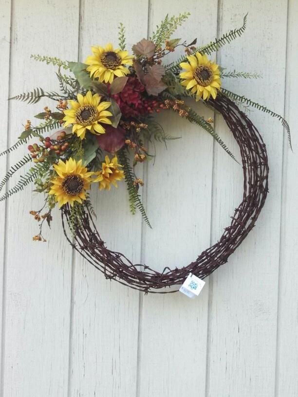 Barbed wire sunflower weath