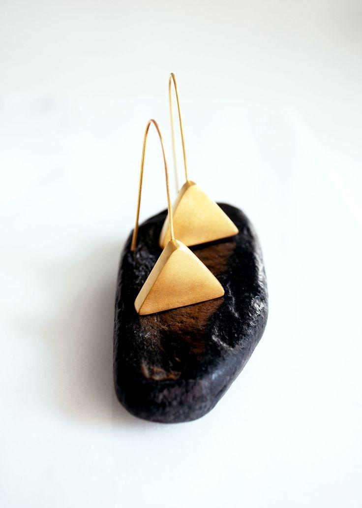 Drop #earrings, #gold Plated Earrings, Dangle Earrings, Minimalist Triangle Earrings, Geometric Earrings