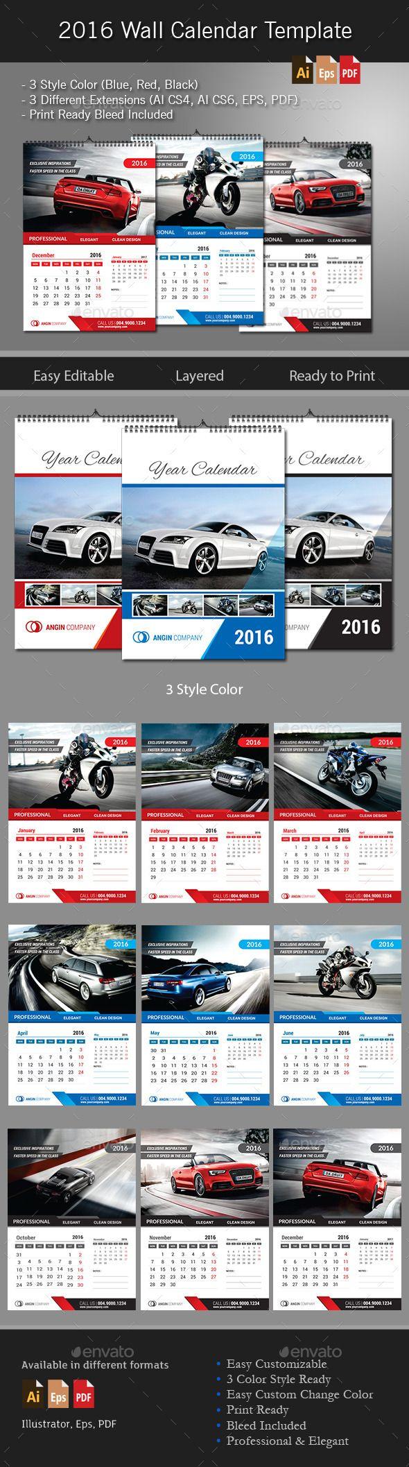 2016 Wall Calendar Template #calendar #2016