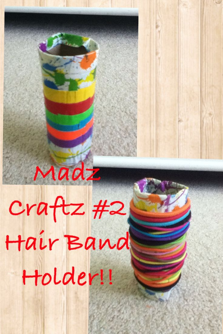 Madz Craftz #2- Customize 'n display your own hair band holder by using an empty toilet paper roll, any color or multiple colors of duct tape, & as many hair bands as you can find! Then, use the duct tape to decorate the toilet paper roll any way you want! You can copy me or make up your own pretty patterns too! Then you can apply as many hair bands as possible! You can also do this craft with designer paper but I used duct tape for this example!  Have fun making your hair band holder!!