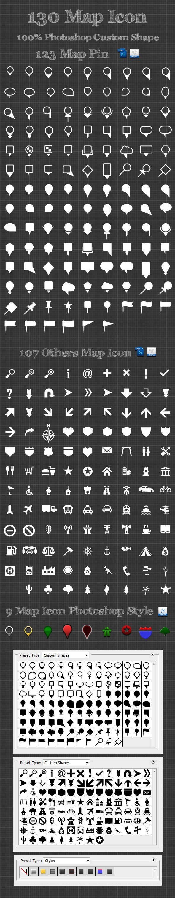 130 Map Icon Photoshop Custom Shapes - Symbols Shapes