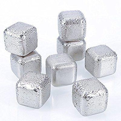 Oobest Ice Cubes Edelstahl Eiswürfelbeutel 8 Wiederverwendbare Eis Würfele Felsen Steine Metallic drink cooler für Abkühlung Whisky Wein Saft Soda Bier (Silber)