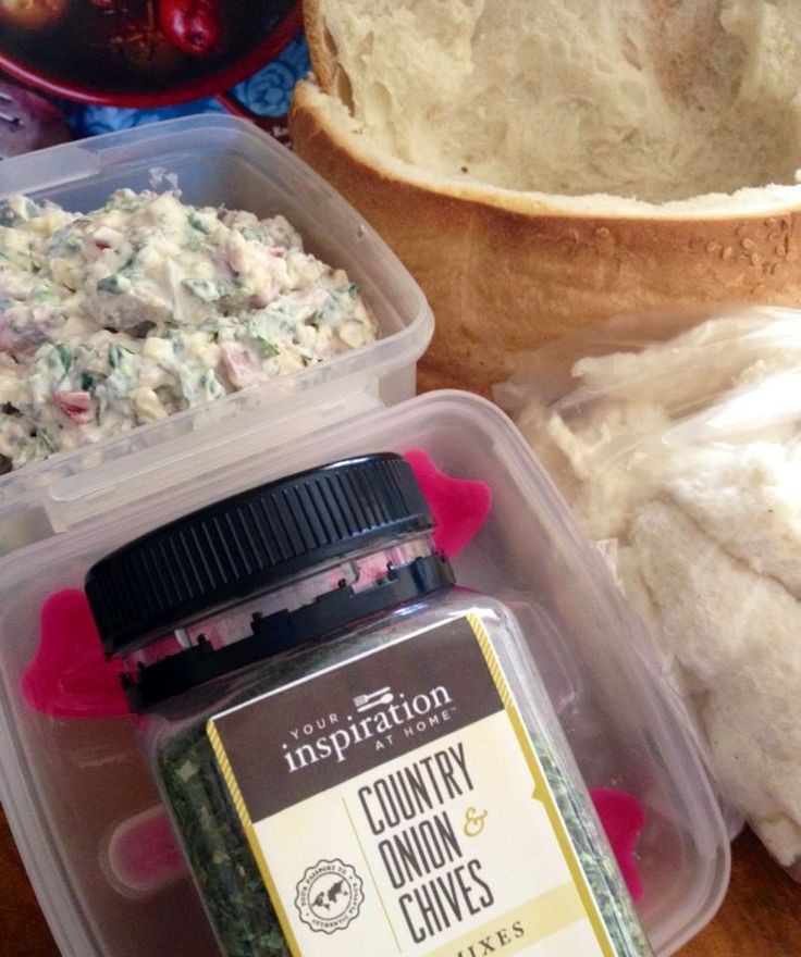 YIAH Onion and Chive Spinach and Ham Cob Loaf 1 cob lol ( My bakery makes the best HIGH top cobs ) 2 tbsp YIAH Country Onion & Chive Dip Mix 1 cup sour cream 1 cup grated cheese 1/2 cup mayo 1 tub philli spreadable cheese 1 cup shredded fresh spinach leaves 1/2 cup diced or shredded ham 1 cup mixed veggies you want to use up I used, mushrooms, yellow and red capsicum, shallots, red onion