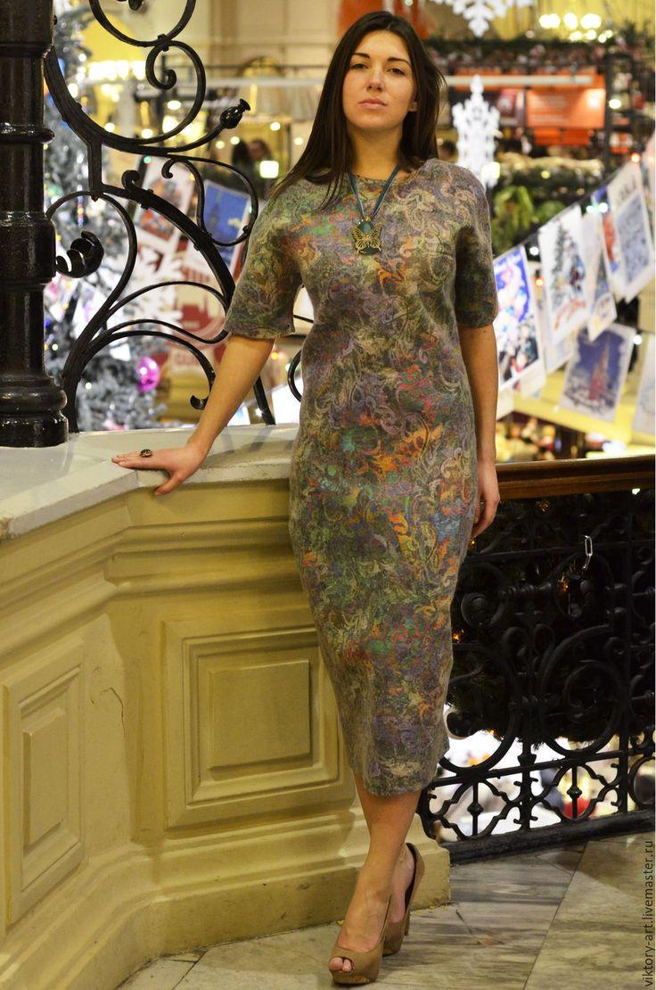Купить Платье из валяной шерсти и дизайнерского шелка - комбинированный, орнамент, валяние из шерсти, Валяние