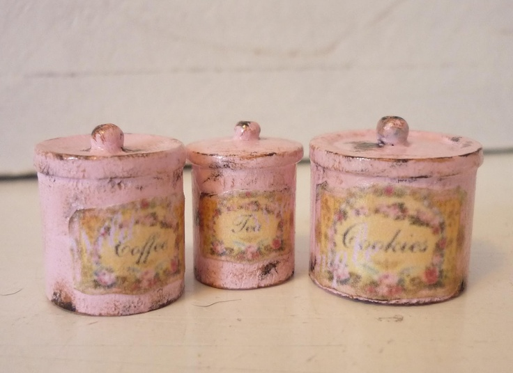 KRISTINA BEARS: Easter...& Give Away Gorgeous pink shabby chic kitchen canisters!