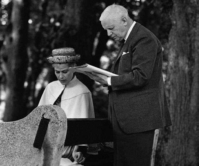 Carl Theodor Dreyer and Nina Pens Rode on the set of Gertrud (1964)