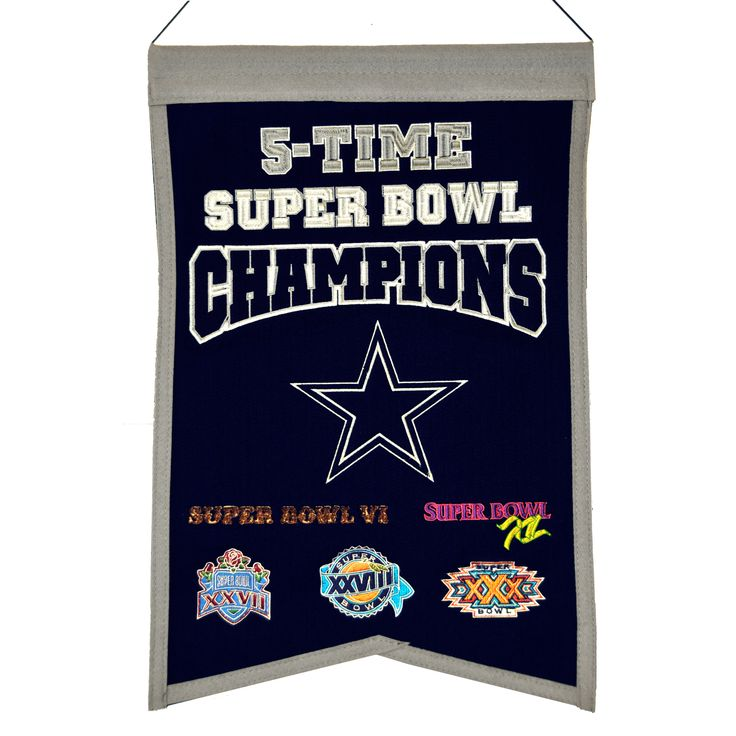 "This 14"" x 22"" beautifully embroidered banner commemorates the Dallas Cowboys five Super Bowl championships."