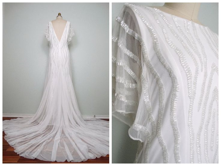 Heavily Beaded Wedding Gown / Iridescent Glass Beaded Sheer White Gown / Tulle Embellished Wedding Dress w/ Train 40 by braxae on Etsy https://www.etsy.com/listing/271554943/heavily-beaded-wedding-gown-iridescent