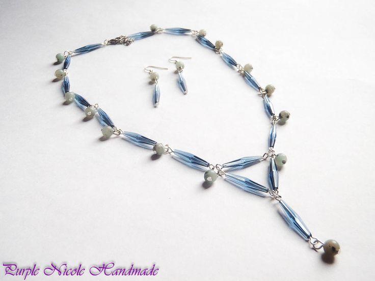 October - Handmade Jewelry Set: necklace  earrings, by Purple Nicole Handmade (Nicole Cea Mov). Materials: metallic accessories, glass long blue-grey beads, sesame jasper spheres.