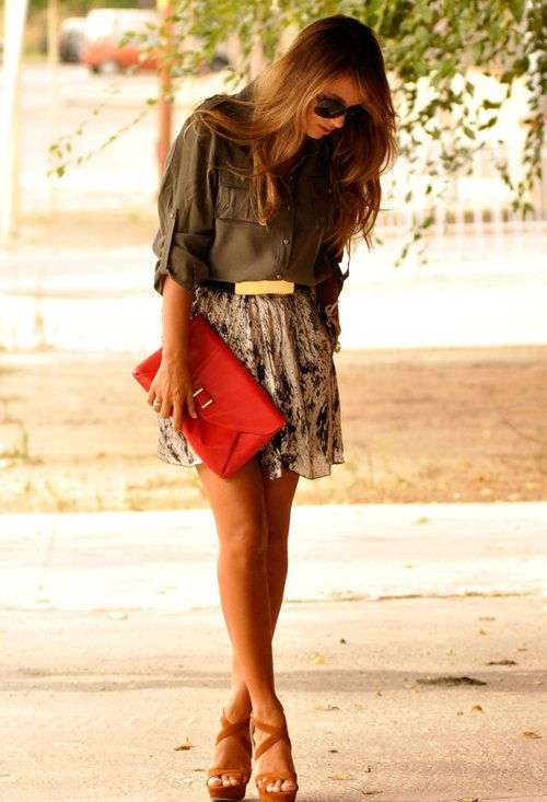 cute: Shoes, Army Green, Floral Skirts, Style, Color, Cute Outfits, Summer Outfits, Red Clutches, Belts