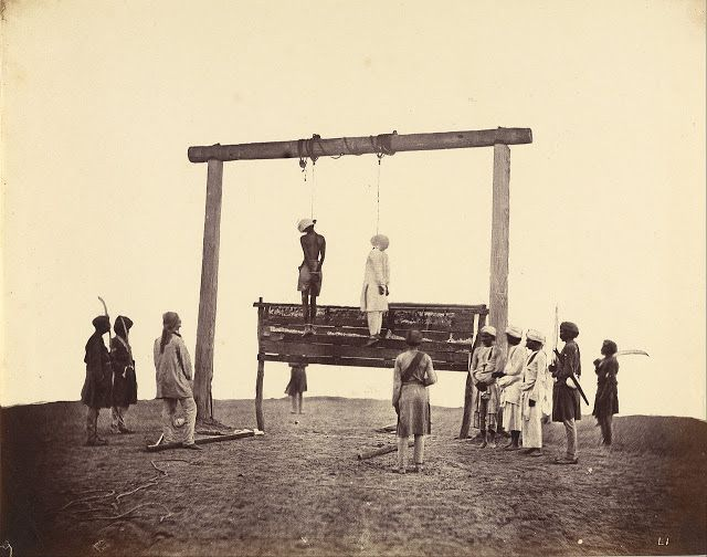 Rare Photos Of Indian Mutiny / Uprising Of 1857. Execution of Indian Mutiny Rebels. As the British re-conquered rebel areas they took a terrible revenge on the Indian population. Stories of atrocities were greatly exaggerated by British soldiers and the press, ensuring that retribution was harsh. Trials of any prisoners were arbitrary and brief, and usually resulted in a sentence of death. Those convicted of mutiny were either hanged, or lashed to the muzzles of cannon and blown away.