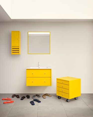 Statement bathroom with a statement colour! Yellow, britgh, bold, beautiful! #montanafurniture #montanadesign #montanabathroom #yellow #storage